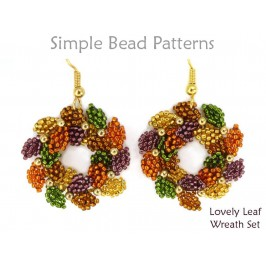 Beaded Wreath Earrings Wreath Necklace Beaded Leaf Pattern