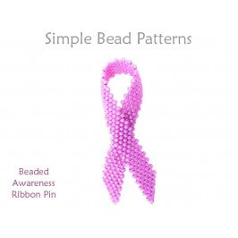 How to Make Awareness Ribbons DIY Pin Peyote Stitch Beading Pattern
