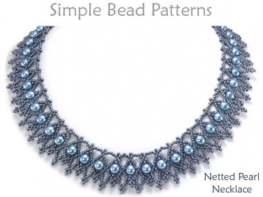 Beaded Netting Necklace Pattern with Pearls Jewelry Making Tutorial