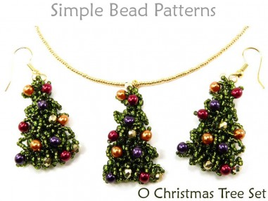 Beaded Christmas Tree Pattern Brick Stitch Earrings Necklace Tutorial