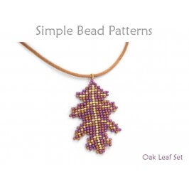 Beaded Leaf Necklace and Earrings Square Stitch Beading Pattern