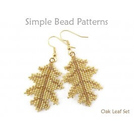 Beaded Leaf Earrings Necklace Square Stitch Beading Pattern