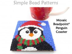 Christmas Penguin Beaded DIY Coasters Beading Pattern for Beginners