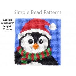 Christmas Penguin Beaded DIY Coasters Beading Pattern for Beginners