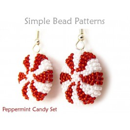 Christmas Peppermint Candy Earrings & Necklace Peyote Stitch Tutorial