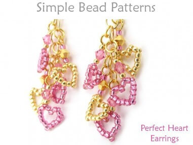 Beaded Heart Earrings with Chain DIY Jewelry Making Beading Tutorial