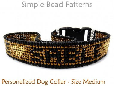 Personalized Dog Collar Pattern - Size Medium
