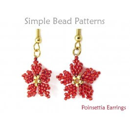 Poinsettia Earrings Diagonal Peyote Stitch Christmas Beading Pattern