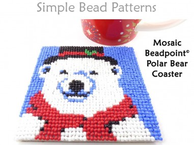Christmas Polar Bear Beaded DIY Coasters Beading Pattern for Beginners