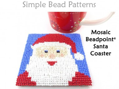 Christmas Santa Claus Beaded DIY Coasters Beading Pattern for Beginners