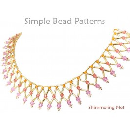 Netted Bead Necklace Pattern with Swarovski Crystals and Bugle Beads