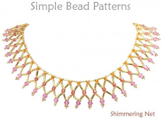 Netted Bead Necklace Pattern With Swarovski Crystals And Bugle Beads Fascinating Bead Necklace Patterns