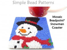 Christmas Snowman Beaded DIY Coasters Beading Pattern for Beginners