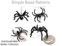 Beaded Spider Earrings Necklace Bracelet Ring Halloween Pattern