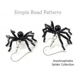 Beaded Spider Earrings Necklace Bracelet Ring Halloween Pattern
