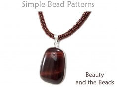 Tubular Peyote Stitch Beaded Gemstone Pendant Necklace Beading Pattern