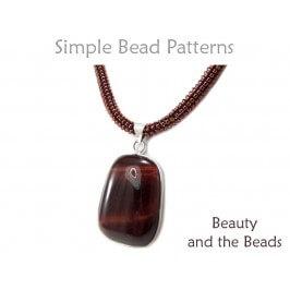 Tubular Peyote Stitch Beaded Gemstone Pendant Necklace Beading Pattern