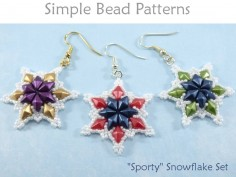 Beaded Snowflake Pattern Earrings & Necklace with DiamonDuo Beads