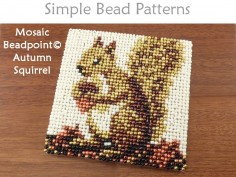 Easy Beaded Squirrel Coaster Beginner Autumn Fall Beading Pattern