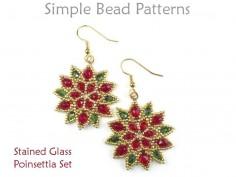 Beaded Poinsettia Pattern for Christmas Beaded Earrings & Necklace