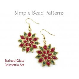 Beaded Poinsettia Pattern for Christmas Beaded Earrings & Necklace