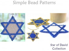 Star of David Necklace Brick Stitch Beading Pattern Hanukkah Tutorial
