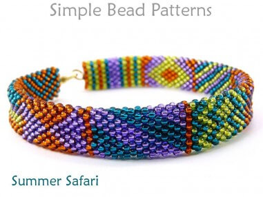 Brick Stitch Beading Pattern for a DIY Bracelet with Seed Beads