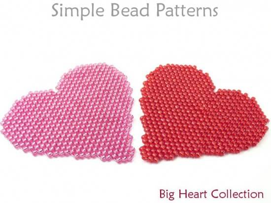 Peyote Stitch Beaded Heart Necklace Brooch Pin Coaster