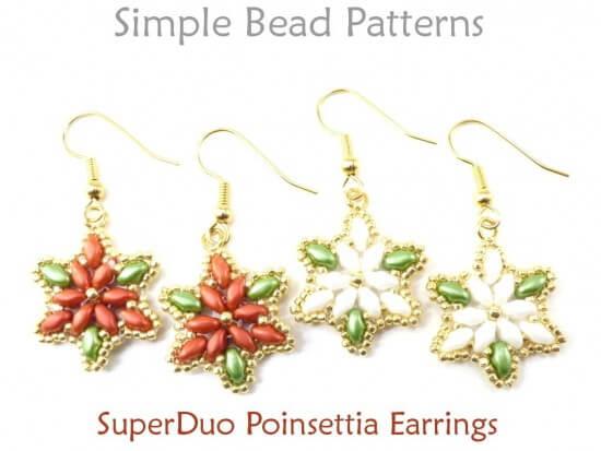 Poinsettia Earrings Diy Christmas Jewelry Making Superduo