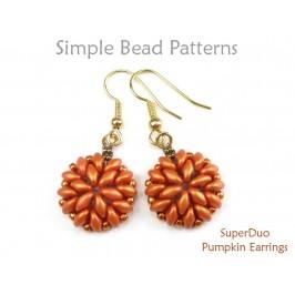 SuperDuo Bead Pattern Beaded Pumpkin Earrings Jewelry Making Tutorial