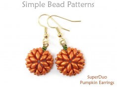 SuperDuo Bead Pattern Beaded Pumpkin Earrings Jewelry Making Tutorial