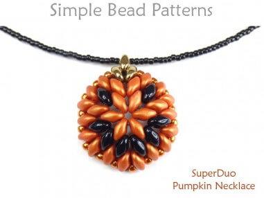 SuperDuo Bead Pattern Beaded Pumpkin Necklace Jewelry Making Tutorial