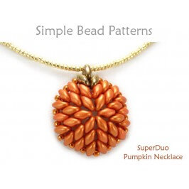 SuperDuo Bead Pattern Beaded Pumpkin Necklace Jewelry Making Tutorial
