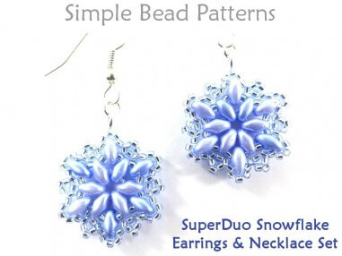 Beaded Snowflake Earrings & Necklace SuperDuo Bead Pattern