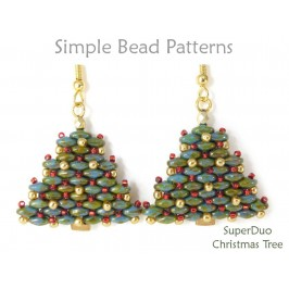 SuperDuo Bead Pattern for Beaded Christmas Tree Earrings & Necklace