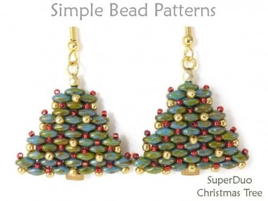 Superduo Bead Pattern For Beaded Christmas Tree Earrings