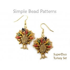 Beaded Turkey Earrings & Necklace Thanksgiving SuperDuo Bead Pattern