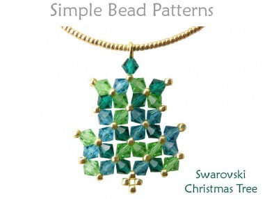 Swarovski Crystal Christmas Tree Earrings & Necklace Beading Pattern