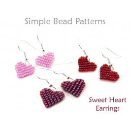 Beaded Heart Earrings Square Stitch Beading Pattern for Valentines
