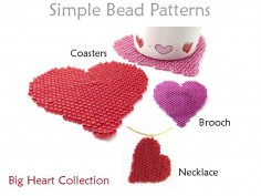 Peyote Stitch Beaded Heart Necklace Brooch Pin Coaster Beading Pattern