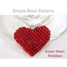Beaded Heart Necklace Square Stitch Beading Pattern for Valentines