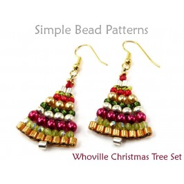 Beaded Christmas Tree Earrings & Necklace Brick Stitch Beading Pattern