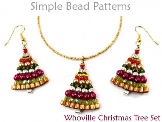 beaded christmas tree earrings necklace brick stitch beading pattern