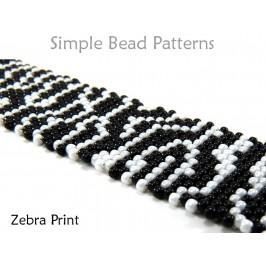 Zebra Print Beaded Brick Stitch Beading Pattern DIY Bracelet Tutorial