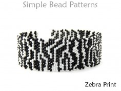 Zebra Print Beaded Brick Stitch Beading Pattern DIY Bracelet Tutorial