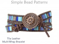 Tila Bead Leather Multi Wrap Bracelet with Two Hole Beads Pattern