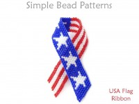 How to Make a Beaded USA Flag Ribbon Pin Brooch - Simple Bead Patterns