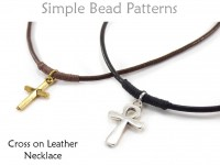 DIY Men's Leather Cord Cross Necklace Easy Jewelry Making Pattern