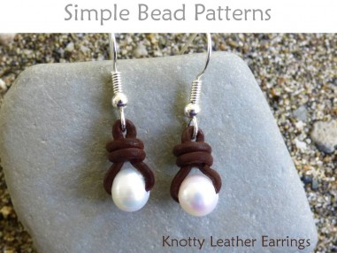 Knotted Leather Pearl Earrings DIY Jewelry Making Beading Pattern