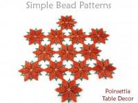 Beaded Christmas Poinsettia Table Decor Holiday Beading Pattern